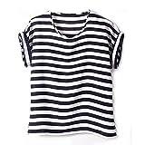 WINTECH Damen T-Shirt Gr. Small, Schwarz/Weiß, gestreift