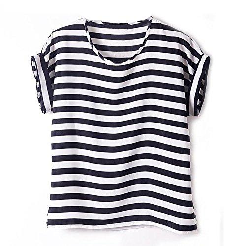 VOBAGA Damen Vogel Herz Drucken Kurzen Ärmel Chiffon Top T-Shirt Blusen Black White Stripe