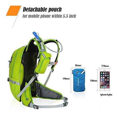 Fahrradrucksack mit Regenschutz, 20L Nylon Leicht Fahrrad Rucksack mit Helmhalterung für Radsport Camping Wandern Reisen, Abnehmbare Tasche für Handy Grün