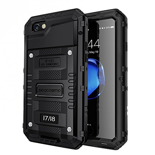Seacosmo iPhone 7 Wasserdicht Hülle, Militärstandard Schutzhülle mit Eingebautem Displayschutz Haltbarkeit stoßfest Handyhülle für iPhone 8,Schwarz