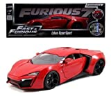 JADA 1:18 FAST & FURIOUS 7 LYKAN HYPERSPORT 1 1/18 Diecast Model Car Red 2015 by Jada