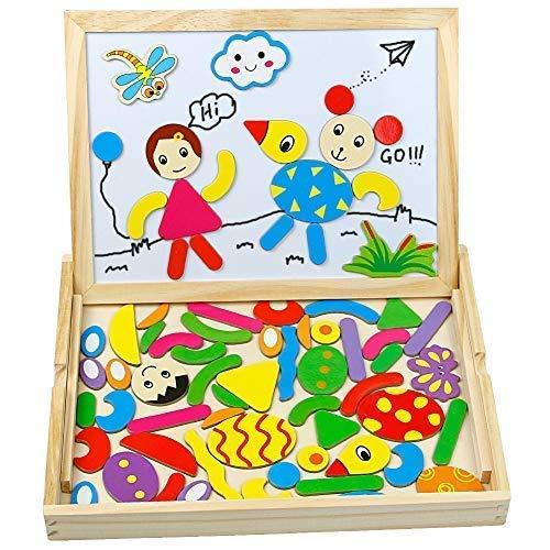 (Holzpuzzle Magnetisches Tafel Doppelseitige Holzspielzeug Lernspiel Intelligentes Spiel Kinderspielzeug Holz Geschenk ab 3 Jahre Kinder Jungen Mädchen)