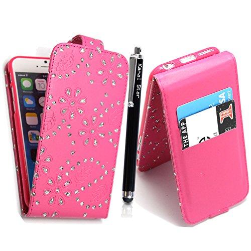 NEW APPLE IPHONE 5C VARIOUS PU LEDER FLIP CASE COVER HÜLLE ETUI TASCHE Schutzhülle + GUARD +STYLUS (Roses on White Book) Pink Diamond Flip