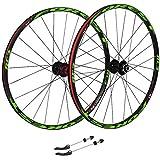ZNND 27.5 Pollici MTB Ruote per Bicicletta, Alluminio Doppia Parete Disco Nero con Cerchione Nero 7 8 9 10 velocità (Ruota Anteriore&Posteriore) (Color : Green, Size : 27.5inch)