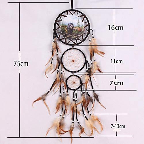 Bovlee Tri-Ring Black Bear Dream Catcher Handarbeit Farbige Natürliche Federn Fashion Hängende Geschenke Europäische Und Amerikanische Traditionellen Stil Innenwand Innenraum Dekoration