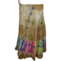 Mogul Interior Magic Wrap Skirt Brown Embroidered Rayon Boho Beach Skirts