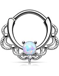 Kultpiercing Piercing septum tribal pour le nez avec opale