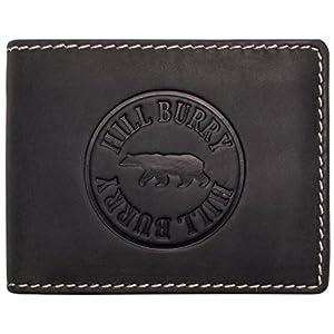 Hill Burry Herren Ledergeldbörse   Geldbörse aus echtem Leder   Echtleder Männer Geldbeutel   schlanke Vintage Brieftasche   Großes Portemonnaie mit RFID-Schutz - Querformat (Schwarz)