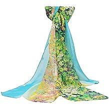 Leisial Pañuelos Gasa de Larga Bufanda Floral Pintura del Abrigo del Mantón de Bufandas Suave Gasa de Chal Seda Verano para Mujer,Amarillo 160*50cm