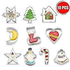 Idea Regalo - Tagliabiscotti Natalizi Set - 10 pz Formine Biscotti a Tema Natalizio con Forma di Babbo Natale & Fiocco di Neve ECC - Stampini per Biscotti in Acciaio Inox per Natale