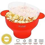 Firlar Mikrowellen-Popcorn-Topf, stabile, praktische Griffe, Silikon-Popcorn-Schüssel mit Deckel, zusammenfaltbar rot