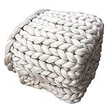 SYY Super Dick Wolle Hand Chunky gestrickt Decke dicke Wolle sperrig stricken werfen (Beige, 80 x 100 cm)