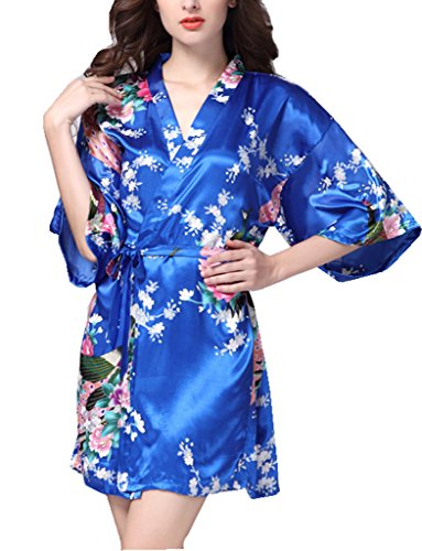 BELLOO Morgenmantel Kimono Robe Bademantel Nachtwäsche kurz aus Satin mit Peacock und Blüten entwerfen knielangen Robe für (Robe Erwachsenen Satin Kimono)