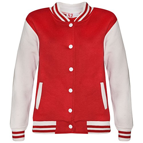 A2Z 4 Kids® Kinder Mädchen Jungen BASEBALL JACKE VARSITY Stil Mode Einfach SCHULE JACKEN TOP Alter 5-13 ()