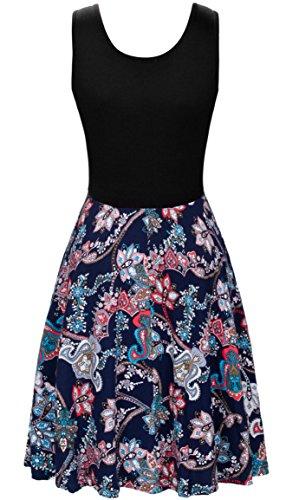KorMei Damen Ärmelloses Beiläufiges Strandkleid Sommerkleid Tank Kleid Ausgestelltes Trägerkleid Knielang Blau Blumen