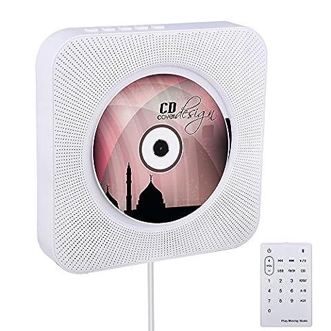 Bluetooth-CD-Player, VIFLYKOO Wand montierbar HiFi Lautsprecher Radio mit Fernbedienung USB MP3 3,5 mm Kopfhörer-Buchse AUX
