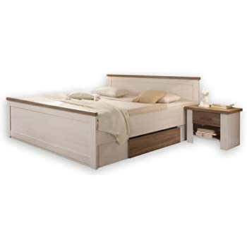 Bett Doppelbett Bettanlage Mit Nachtkommoden Pinie Weiss Luca