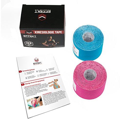 Effekt Manufaktur Kinesiologie Tape in verschiedenen Farben (5m x 5cm) - Kinesiotapes wasserfest und elastisch Sport - Physiotape Kinesiotape Set Sporttape - Tape Kinesio (Hellblau + Pink, 2er Set) - 3