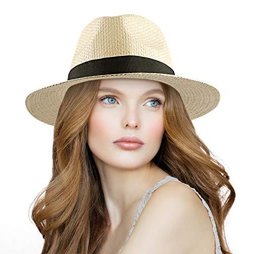 Herren Sommer Panama Strohhut, Urlaub Sonnenschutz Hut UV Schutz for Sommer Strand Draussen Ferien Am Meer (Beige)