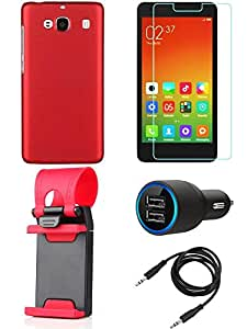 NIROSHA Tempered Glass Screen Guard Cover Case Car Charger Mobile Holder for Xiaomi Redmi 2s - Combo