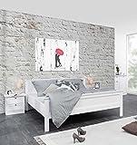 Bett, Doppelbett, Bettrahmen, Schlafbett, Schlafzimmerbett, Komfortbett, Bettgestell, Liegefläche ca. 180 x 200 cm, Landhausstil, modern, weiß, weiss