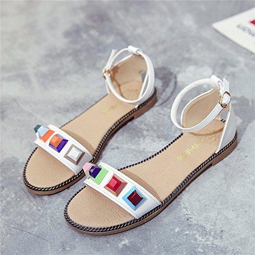 XY&GK Donna Sandali fondo piatto sandali estate confortevole e morbido di suole antiscivolo per scarpe di pulsante White