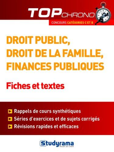 Droit public, droit de la famille, finances publiques - Fiches et tests