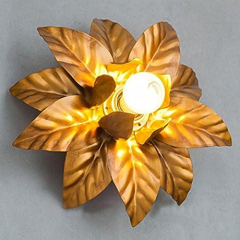 Retro Style de style Plafonnier Feuilles d'or Lampes de plafond Éclairage design élégant pour chambre à coucher, D26 * H12CM, E27,60W