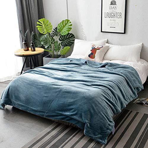 Plaid in pile vellutato matrimoniale grande letto in lana d' agnello coperta in microfibra super soft fluffy warm solid lusso copriletto