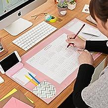 Alfombrillas de ratón, Gran tamaño Almohadilla de escritorio Multifunción escritorio secante Oficina alfombras Antideslizantes con soporte para teléfono 650 * 320 mm (Rosa)