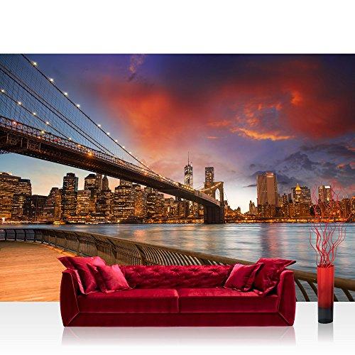 Vlies Fototapete 350x245 cm PREMIUM PLUS Wand Foto Tapete Wand Bild Vliestapete - NEW YORK BRIDGES SKYLINE - New York City USA Amerika Empire State Building Big Apple - no. 021