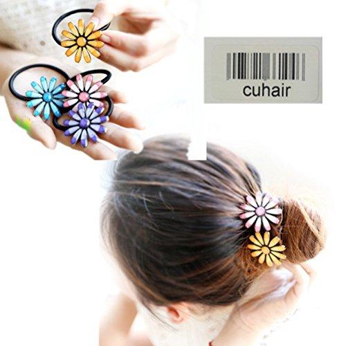 Cuhair 4 pièces Chrysanthème Top élastique Cheveux Cravate Bandes de cheveux queue de cheval support Cheveux Corde Cheveux en caoutchouc Cheveux Accessoires pour femmes filles