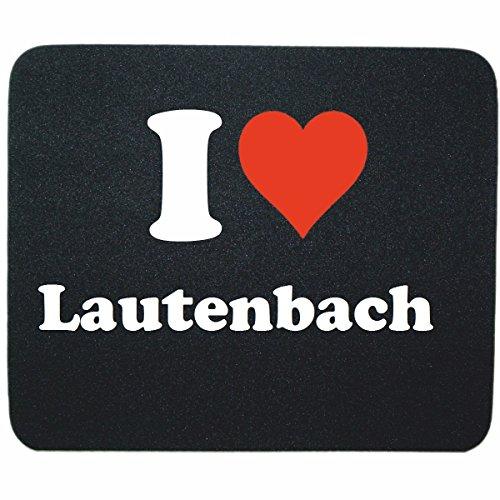 """Gaming Mauspad \""""I Love Lautenbach\"""" in Schwarz, eine tolle Geschenkidee die von Herzen kommt  Rutschfestes Mousepad   Geschenktipp: Weihnachten Jahrestag Geburtstag Lieblingsmensch"""