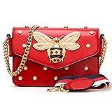 Damen Umhängetasche Mode Bienentasche Umhängetasche Mamabeutel Kettenbeutel Mädchen Tasche (21X8X15cm, Rot)