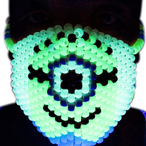 Minions Glow In The Dark Kandi Mask by Kandi Gear, rave mask, halloween mask, beaded mask, bead mask for music fesivals and parties