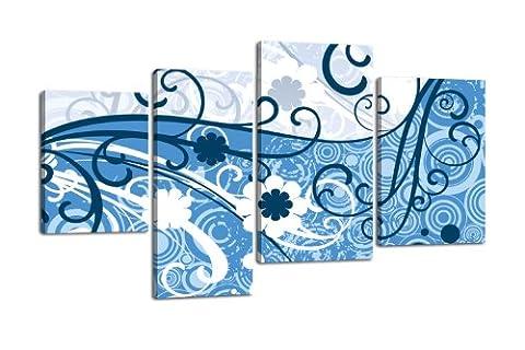Toile Laura lw94Tableau sur Toile en, 4pièces, 180x 115cm, reproduction Toile, XXL photos, châssis image, tendu, image, cadre en bois, bleu, floral, fleur