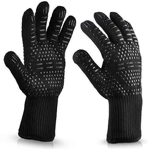 Zoomlie High Temperature Resistant 500Grad Ofen Isolierung Silikon Baumwolle Handschuhe BBQ Fire feuerfest Barbecue Mikrowelle Ofen Handschuhe, Black Point Glue, Einheitsgröße (Ofen-isolierung)