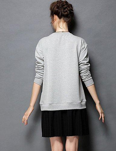 PU&PU Robe Aux femmes Grandes Tailles Grandes Tailles / Vintage / Soirée / Travail / Décontracté , Couleur Pleine / Imprimé / MosaïqueCol gray-2xl