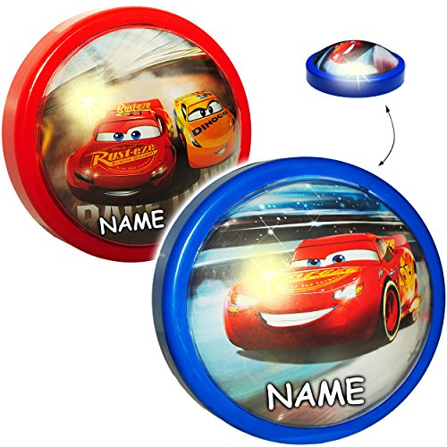 alles-meine.de GmbH LED Nachtlicht -  Disney Cars / Lightning McQueen - Auto - rot  - inkl. Name - Batterie betrieben - Schlummerlicht / magisches Licht - zum Drücken ()