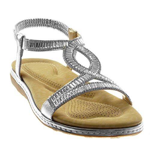 Angkorly Chaussure Mode Sandale Slip-On Salomés Lanière Cheville Femme Strass Fantaisie Finition Surpiqûres Coutures Talon Plat 3 cm Argent