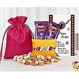 Tied Ribbons Rakhi Gifts For Brother (Designer Rakhi,Almonds,Cashew,Rasins,2 Dairy Milk Chocolates,Rakhi Card...