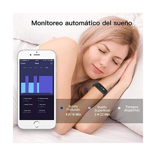 Pulsera de Actividad Inteligente Impermeable IP67 con 8 Modos de Deporte,Pulsera Inteligente con Pulsómetro, Blood Pressure, Sueño,Podómetro,Pulsera Deporte para Android y iOS Teléfono móvil 4