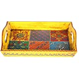 APKAMART Handicraft Wooden Tray - 11 Inch - Handcrafted Serving Tray For Table Decor, Dining And Serving, Home Decor And Gifts