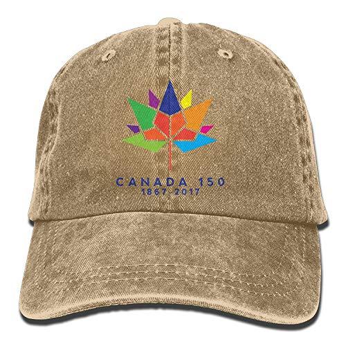 Preisvergleich Produktbild KKAIYA Canada 150 Washed Vintage Adjustable Jeans Hat Baseball Caps for Man and Woman