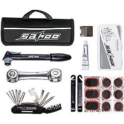 Mini Bomba de Bicicleta, SAHOO Kit Reparador De Neumáticos Kit Pinchazos de Bici Portátil Bomba de aire para Válvulas Schrader & Presta & Pelota (Negro)