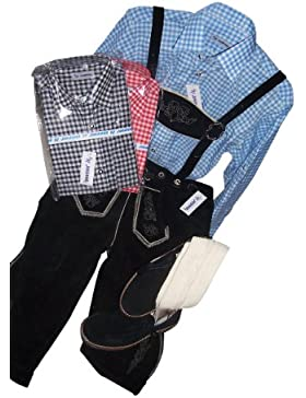 Trachten Anzug Lederhosen+Trachtenhemden+Kniestrümpfe+Haferl Schuhe+Träger Echt Leder Schwarz Herren (60)