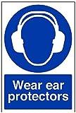 vsafety 41017au-s tragen Gehörschutz Pflicht Schutzbekleidung Schild, selbstklebend, Portrait, 200mm x 300mm, blau
