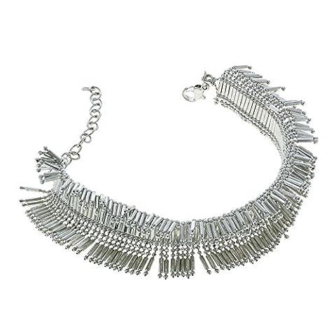 Piste argent Bracelet métal perles accessoire indienne mousseux