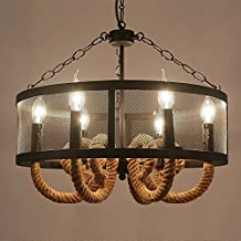 Lámpara de viento retro nostálgico industrial Lámpara de salón de la personalidad de la creatividad americana creativa Lámpara de techo retro de la lámpara de la lámpara de la lámpara de la cuerda del cáñamo de la lámpara de la cadena de la luz de los 70CM 110V-240V