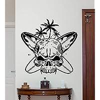 Art Skull with Surfboards Surf Skull Wall Decals Home Living Room Art Decor Vinyl Wall Sticker Special Creative Wallpaper 57 * 57Cm